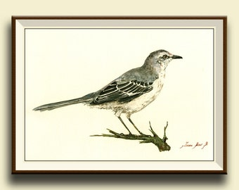 PRINT-Northern Mockingbird - bird wildlife animal decor- songbird animal wall art - garden bird nursery decal- Art Print by Juan Bosco