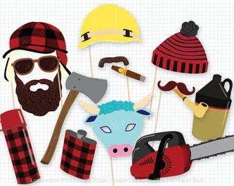 Lumberjack Party Photo Booth Props, Photobooth Props, Lumberjack and Jill Shower, Woodland Party, Woodland Decor, Great Outdoors, Man, Plaid