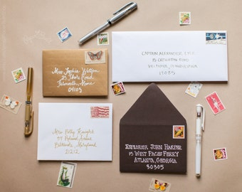 White, Gold, or Silver Gel Pens for Addressing Envelopes, Snail Mail, Stationery Envelope Art, Mail Art, Unique Envelopes