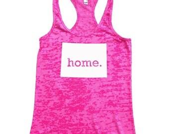 Wyoming Home Burnout Racerback Tank Top - Women's Workout Tank Top