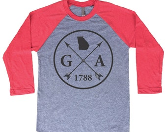 Homeland Tees Georgia Arrow Tri-Blend Raglan Baseball Shirt