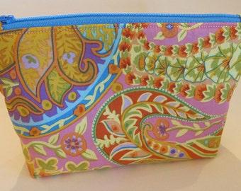 Colorful Flower Zipper Pouch - Blue Zipper