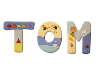Baby Letters, Blue Nursery Decor, Blue Room Decor, Baby Boy Name Sign,