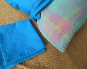 Vintage Turquoise Throw Pillow Cases Ribbed Cotton French Decorative Pillow Covers Zipped Set of 2 #SophieLadyDeParis