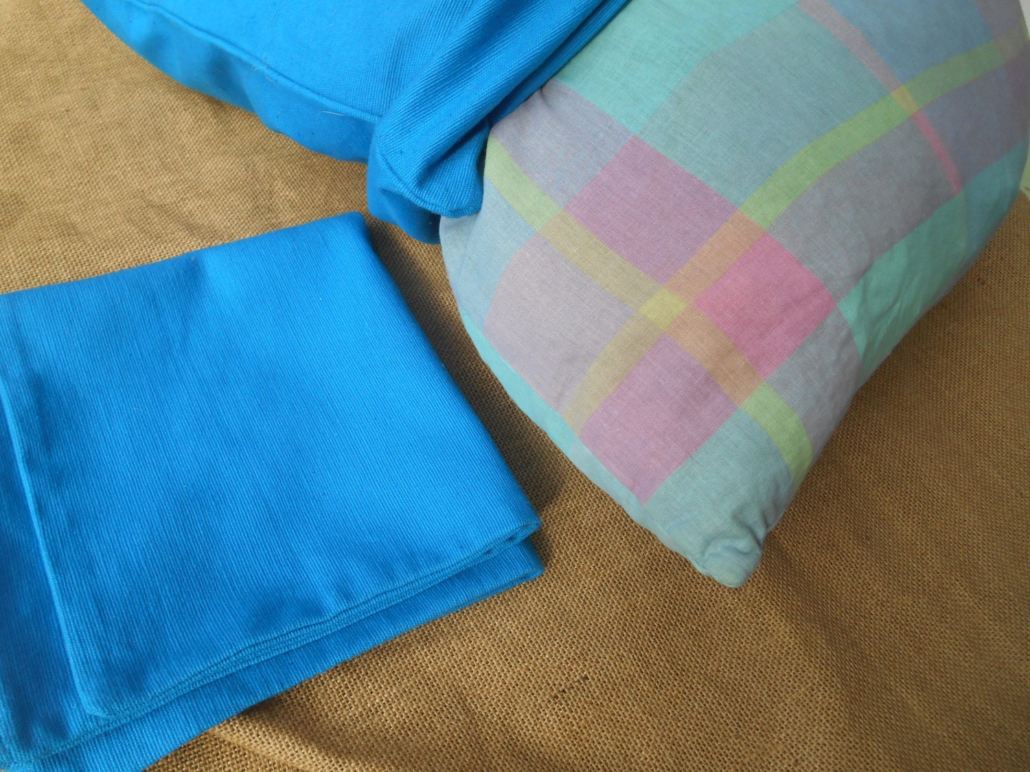 Throw Pillow In French : Vintage Turquoise Throw Pillow Cases Ribbed Cotton French