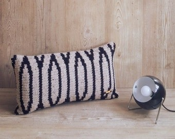 Scandi Hygge Retro Oblong Rectangular knitted Cushion Cover - The Yukon - Natural and Black