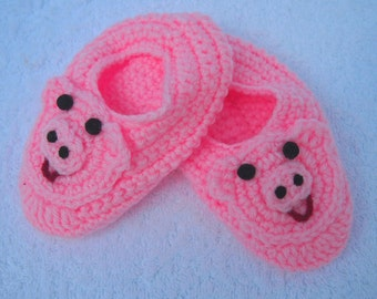 Child's Pig Slippers Handmade Crochet