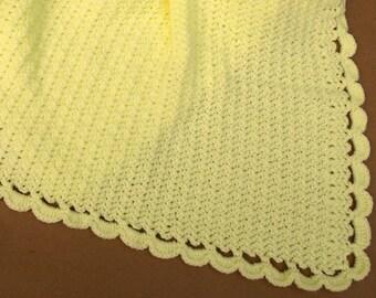 Yellow Baby Blanket/Afghan Handmade Crochet