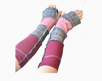 Upcycled Arm Warmers Women's Cotton Red and Black Wool Free