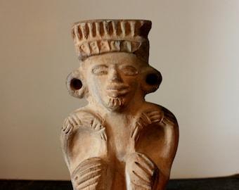 Clay Aztec statue // Primitive Inca deity // South American native statue