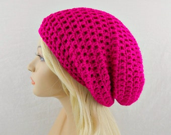 Fuchsia Pink Slouchy Beanie, Pink Beanie, Pink Crochet Beanie, Pink Slouchy Hat, Pink Crochet Hat, Pink Winter Hat, EXTRA Slouchy Beanie