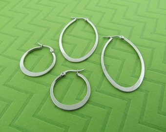 Two pairs of stainlless steel earrings