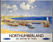 Northumberland England Seahouses, Travel Poster Print-  1950s