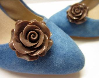 Chocolate Flower Shoe Clips, Taupe Shoe Clips, Taupe Rose Shoe Buttons, Taupe Flower Shoe Clips, Chocolate Wedding Shoes, Flower Girl Shoes