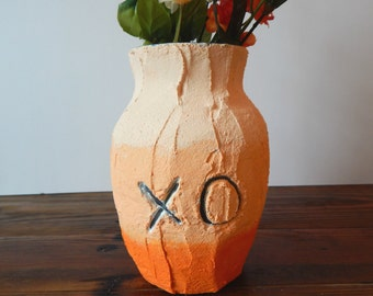 Handcrafted cement vase, orange home decor, personalized home decor, rustic,