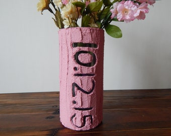 Handcrafted,personalized home decor, pink home decor, colored cement,vase,Home & Living,limestone,pink
