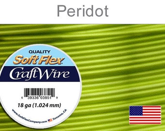 18 Gauge Peridot Soft Flex Wire, Silver Plated, Round, Non-Tarnish, Supplies, Findings, Craft Wire