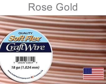 18 Gauge Rose Gold Soft Flex Wire, Round, Non-Tarnish, Supplies, Findings, Craft Wire