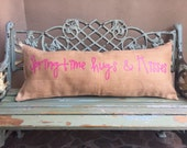 WELCOME ENTRY pillow -Extra long lumbar waxed burlap pillow for the front entry with two custom greetings on each side