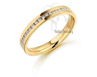 Diamond Eternity Rings, Womens 14K Yellow Gold  Diamond Wedding Bands,Anniversary Wedding Rings,Matching Wedding Bands