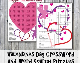 Valentines Day Crossword Puzzle and Word Search - Party Game Printables - Instant Download