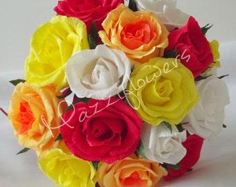 Bridal flowers,paper flowers 15pcs. wedding flower, paper flower bouquets, paper bouqet,paper roses, blue roses,wedding flower