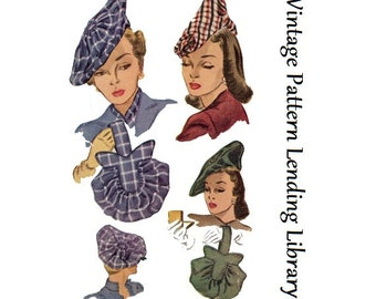 1947 Ladies Hats and Purses - Reproduction Sewing Pattern #H1318