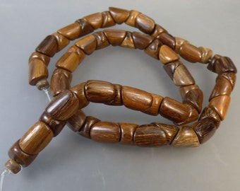 1 String of Triangular Tube Wooden Beads -  STASH CLEAROUT - destash