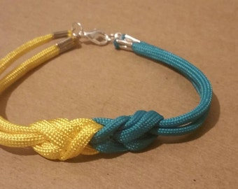Green and yellow knot work bracelet