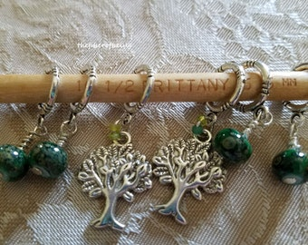 Tree of Live Knit Stitch Markers, handmade knitting markers knitter gifts