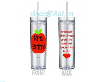 Teacher Appreciation Tumbler with Apple and Quote