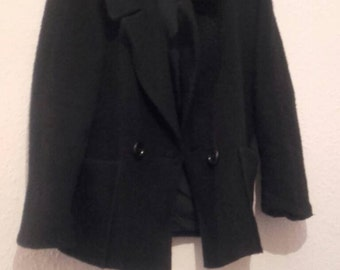 Black mohair mix oversize coat