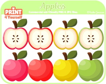 Instant Download Apple Clipart // Apple Clipart // Fruit Clipart // Food Clipart // Red // Yellow // Green