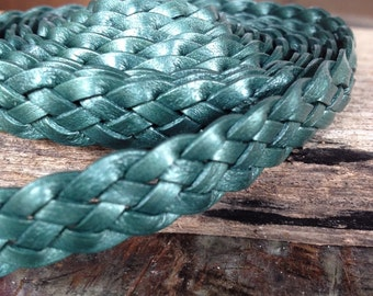 Ocean green metallic flat braided leather cord, 5 strand green leather 1/2""