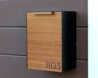 Modern Mailbox Narrow, Mahogany Wall Mounted mailbox, Narrow Size