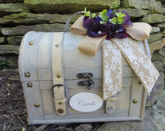 Shabby Chic Cream Wedding Trunk, Wedding Card Holder, Card Box, Money Holder,  Wedding Suitcase, Rustic Wedding Box