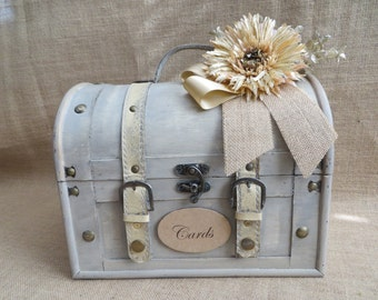 Shabby Chic Cream Wedding Trunk, Wedding Card Holder, Baby Shower Card Box, Money Holder, Money Box, Wedding Suitcase, Rustic Wedding Box