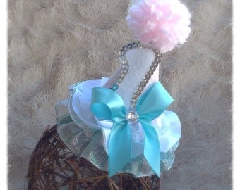 1st Birthday Hat. Girl.  Photo Prop. Mini Hat. Pink. White. Robins Egg Blue.