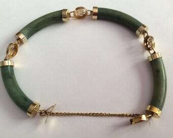 Jade & Gold Tone Bracelet