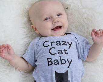 Cat baby bodysuit, baby clothes, crazy cat baby, hipster, cute kitten, bodysuit clothing - funny baby shower gift for baby boy, baby girl