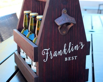 Wooden Beer Caddy, personalized wooden beer tote, beer carrier, wooden beer caddy, personal beer tote