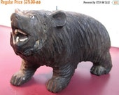Carved wooden black bear, bear sculpture, vintage, totem animal, Smoky Mountains, made in USA, folk craft, realistic carving, lifelike,