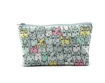 Cat Makeup Bag, Makeup Pouch, Zipper Pouch, Zipper Bag, Cat Cosmetic Bag, Cat Zipper Bag, Cat Pouch