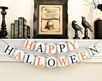 Décor d'Halloween, bannière Happy Halloween, Trick or Treat, guirlande Happy Halloween, Halloween accessoires