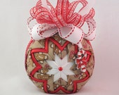 Gingerbread themed quilted ornament - fabric ornament, no sew ornament, gingerbread fabric, red and white bow, and silver candy cane charm