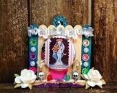 Day of the Dead Loteria Shrine / Skeleton Pin Ornament / Dia de los Muertos Decoration / All Souls Day Ofrenda / La Novia