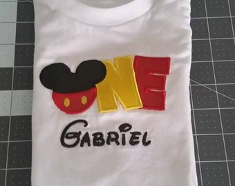 Mouse Ears First Birthday embroidered shirt with name