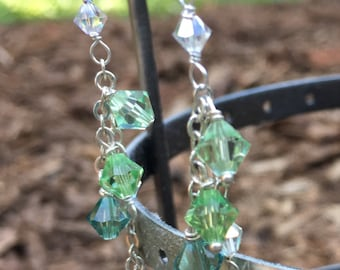Swarovski crystals in greens and blues on sterling silver chains drop earrings