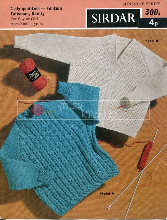 Childrens Raglan Sweaters 2-4 years 4-ply Sirdar 300 Knitting Pattern PDF instant download