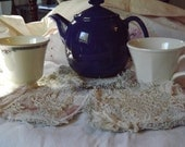 Custom Listing For Joanne Only       Cottage Chic Cup Rugs Tea Party Decor Ready To Ship FREE Continental United Staes